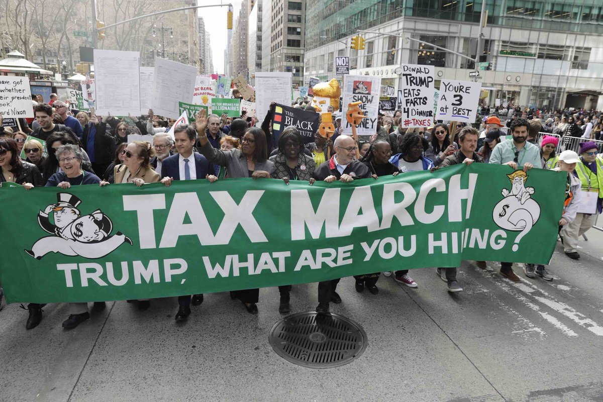 Thousands rallied on Saturday demanding Donald Trump release his tax returns