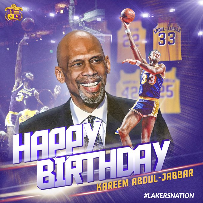 Join us in wishing Lakers legend Kareem Abdul-Jabbar ( a Happy 70th Birthday!