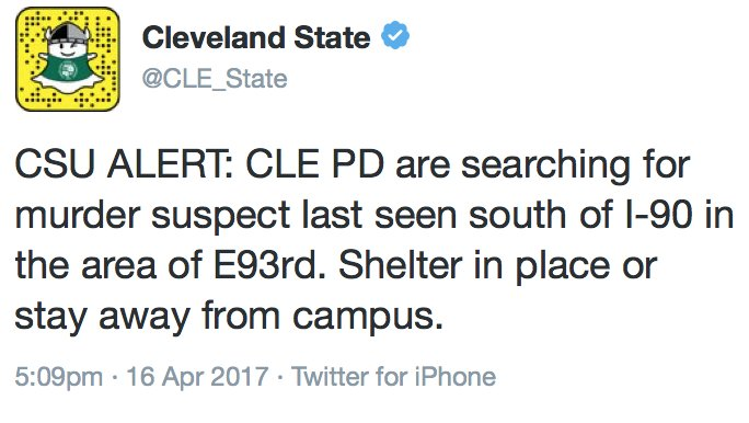 UPDATE: Cleveland State issues shelter in place while police look for suspect in Facebook live killing.