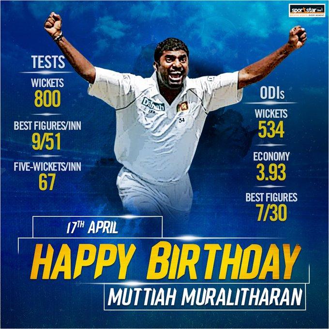 We wish a very happy birthday to legendary Sri Lankan spinner Muttiah Muralitharan.
