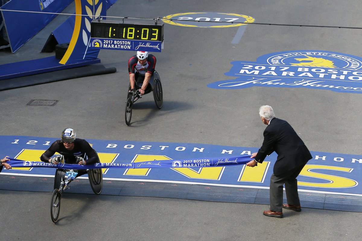 What the dramatic Boston Marathon men's wheelchair finish looked like on Bolyston Street