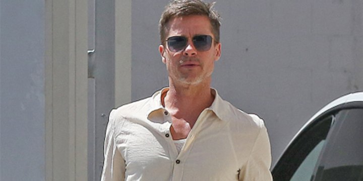 Brad Pitt keeps it casual during a rare sighting outside his art studio in L.A.