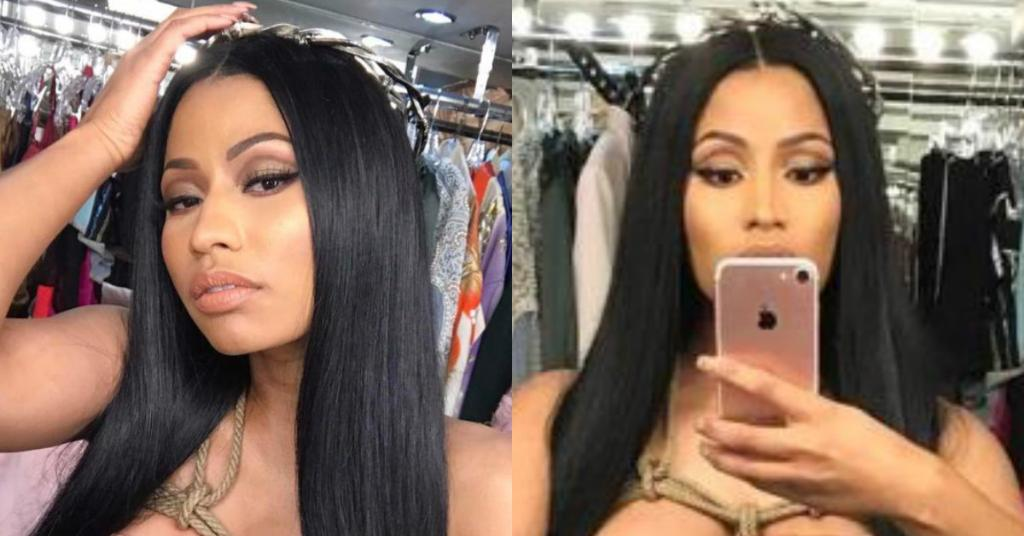 Nicki Minaj covers her huge cleavage with one arm as she goes topless in racy Easter selfies