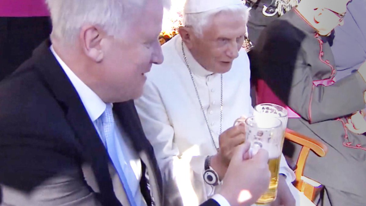 Pope Benedict XVI celebrated his 90th birthday on Monday with Bavarian music and beer
