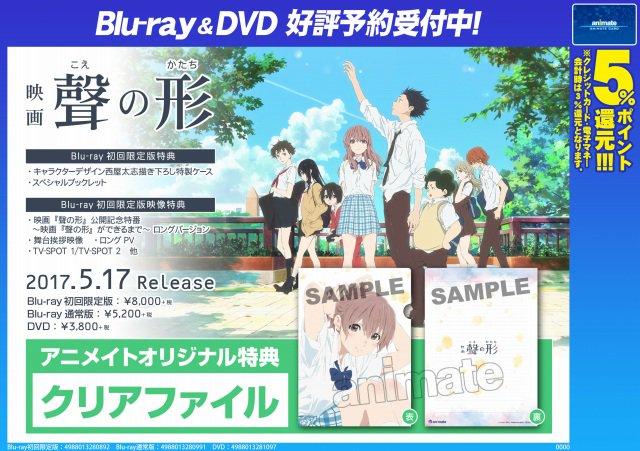 【映像予約情報】5月17日発売予定!映画『聲の形』BD&DVDはご予約受付中です!アニメイト特典は『クリアファイ