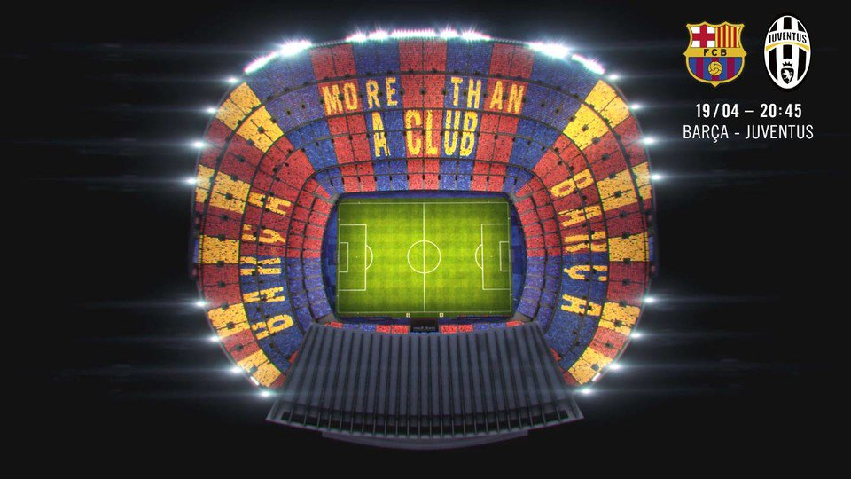 RT @FCBPenyes: The mosaic for the Juventus match ???????? #FCBJuve https://t.co/acw6pVTAtg https://t.co/9fB8rL1Ppy