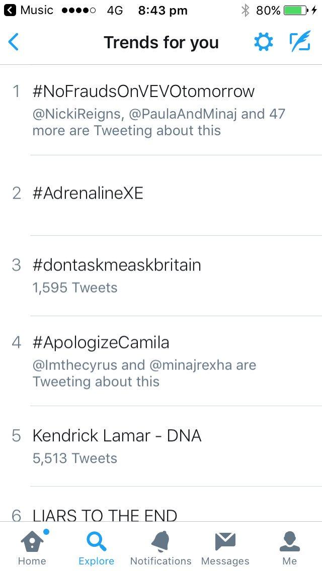 RT @KingMinaj__: @NICKIMINAJ #NoFraudsOnVEVOTomorrow is the #1 trend in the U.K.!???????? https://t.co/M4r8JEy0B5