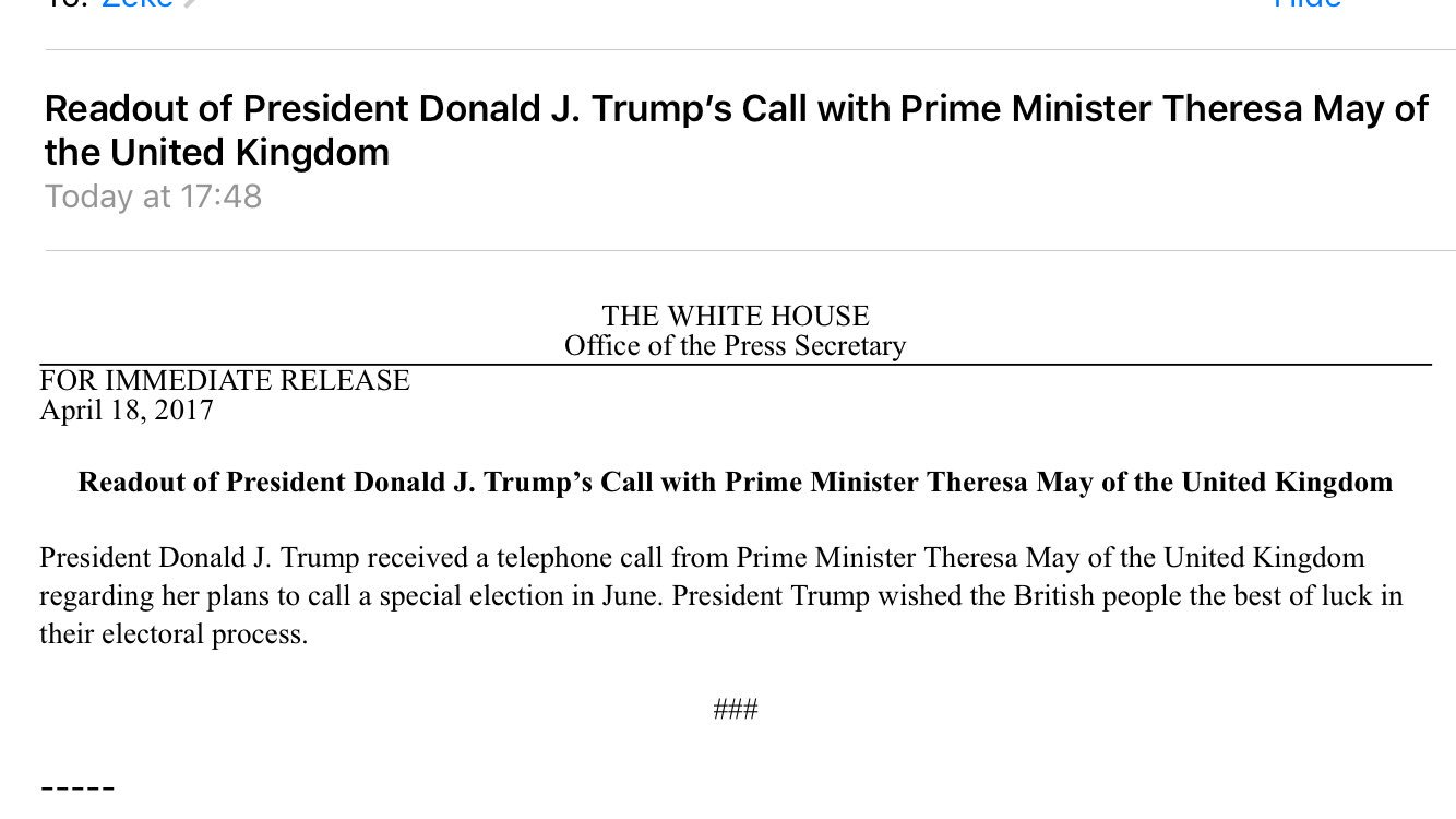 Readout of President Donald J. Trump's Call with Prime Minister Theresa May of the United Kingdom https://t.co/SytKOIhcYD