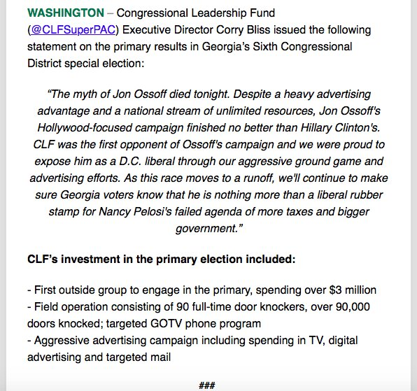 The anti-@ossoff view from @CLFSuperPAC: 'The myth of Jon Ossoff died tonight.' #GA06