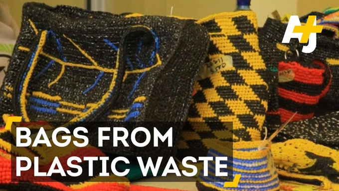 Nigerian women are revamping their economy and the environment by turning plastic trash into colorful bags.