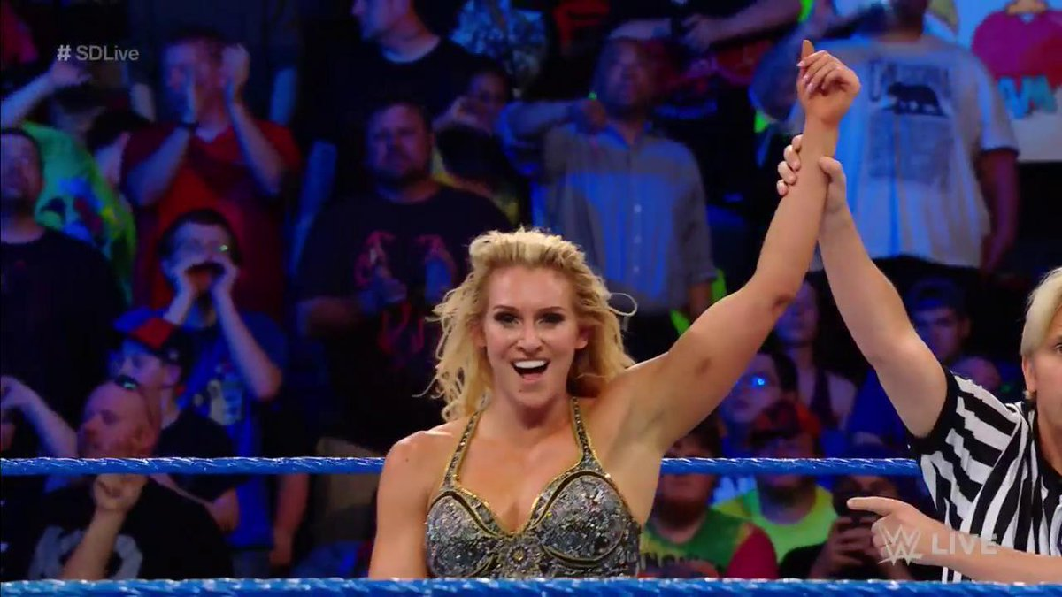 SHE DID IT! @MsCharlotteWWE defeats @NaomiWWE to earn a shot at her #SDLive #WomensTitle NEXT WEEK!