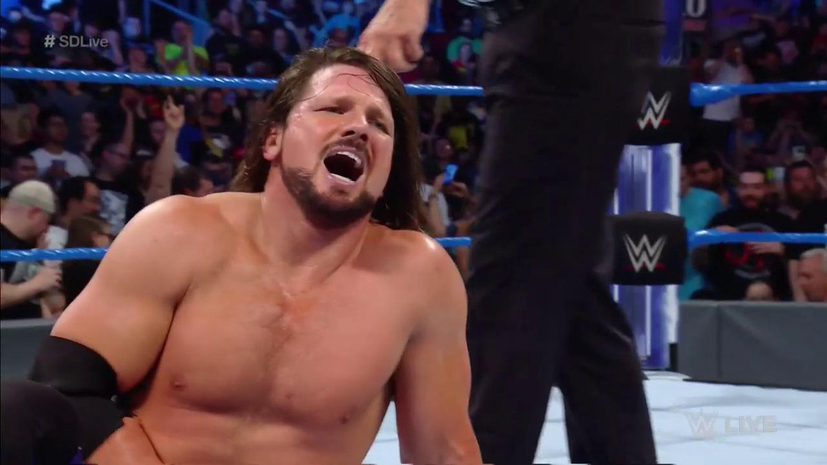 A hard-fought count-out victory for The #Phenomenal @AJStylesOrg as he defeats @BaronCorbinWWE! #SDLive