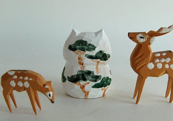 猫の木彫り人形に松の模様を絵付けした新作「松太郎」です!近日発売!