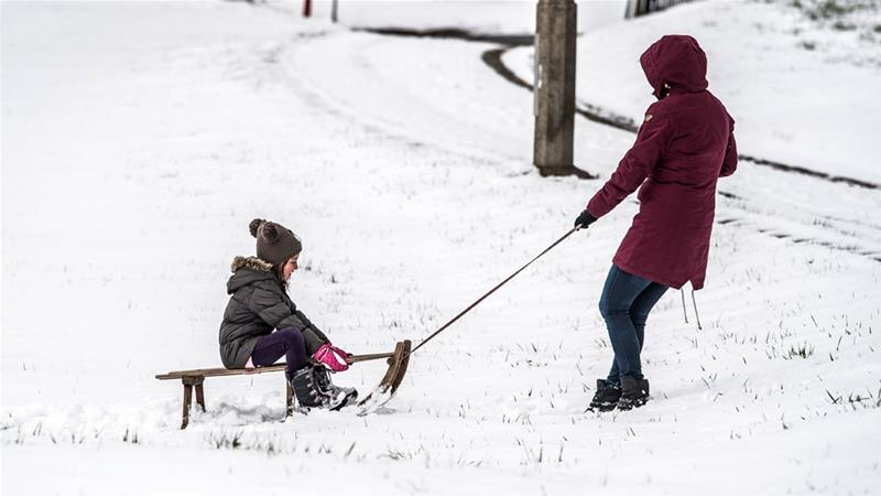 Cold wintry weather sweeps over central Europe