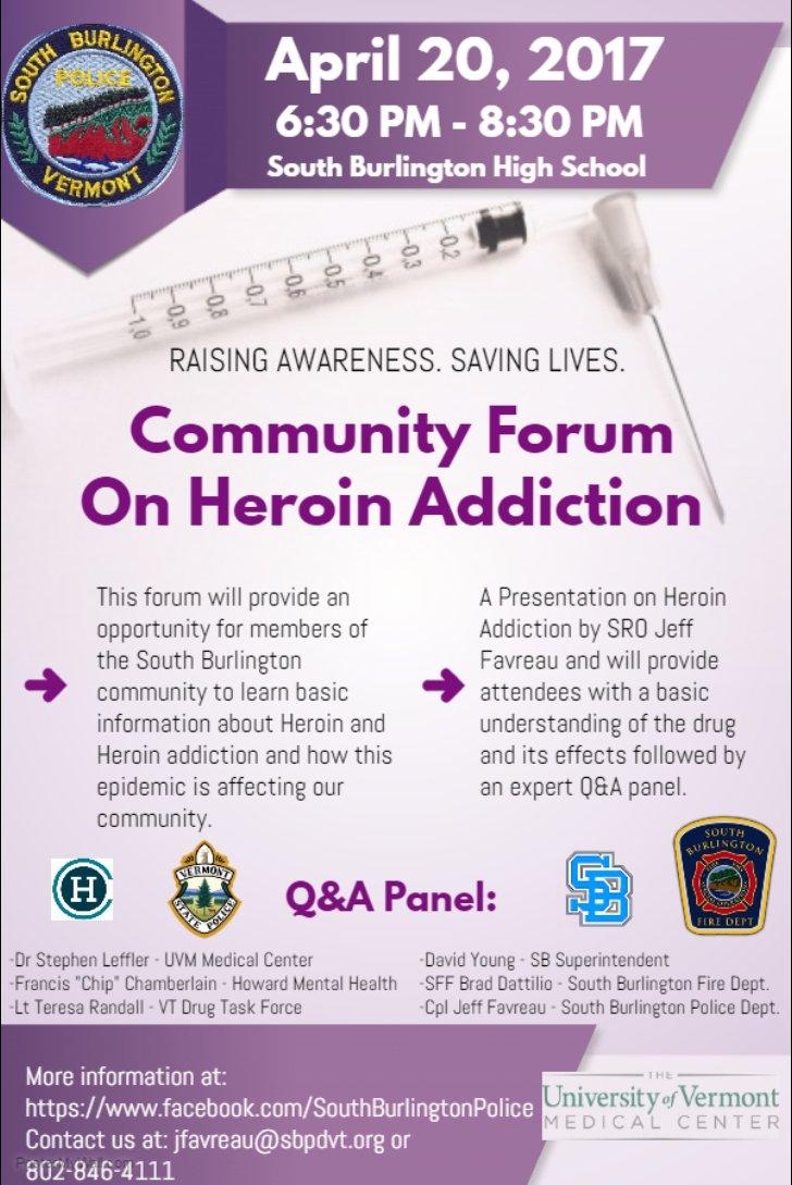 test Twitter Media - Community Forum on #Heroin, hosted by the @SBPolice1 on Thursday, April 20th at the @SBHSVT #802VSP #BTV https://t.co/LW9WkWymtE