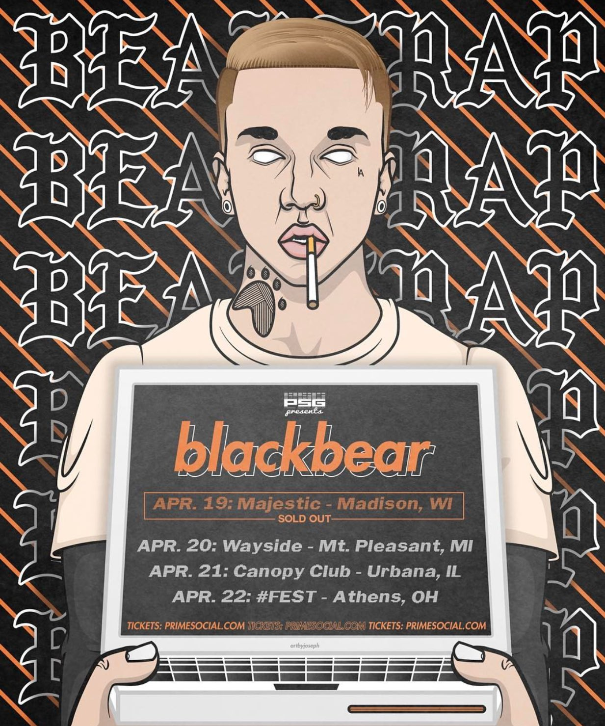 See @iamblackbear in the following cities this week! �� All tickets available at https://t.co/8gWDk9CJw7. https://t.co/HXnemziNJj