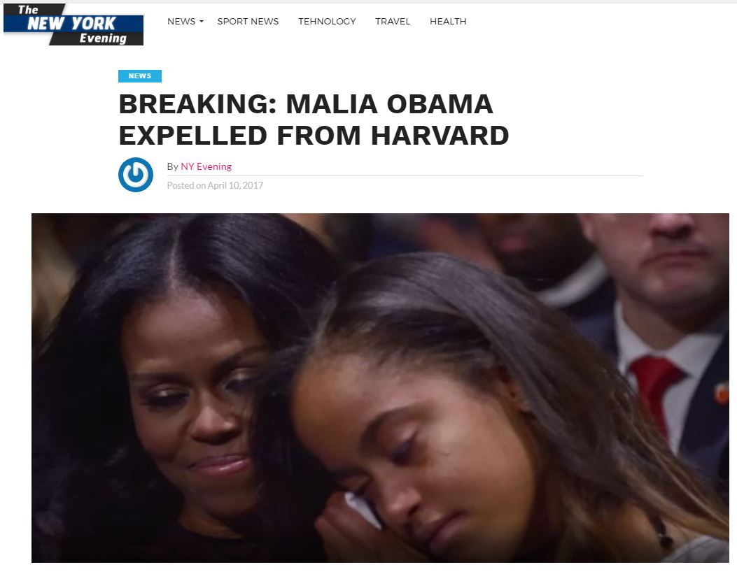 Fake story wrong about Malia Obama being expelled from Harvard for marijuana use