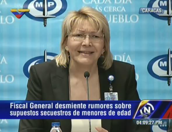 VTV CANAL 8 (@VTVcanal8): [AHORA] Fiscal @lortegadiaz sobre campaña de secuestro de niñ@s: Es incierta es, para crear caos en el país http://t.co/AVCIvrlgdO