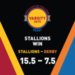 The final score of todays #StallionsVarsity #DerbyVarsity15.5 to the Stallions - 7.5 to @UDSU. Well done Stallions! http://t.co/m30RmNj4MS