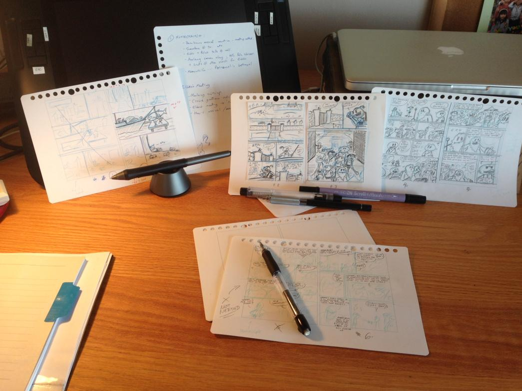 Morning comicing session under way. More thumbs/pencils. Let's see if I can finish chapter 1. #comics #webcomics #wip http://t.co/ripst6GZ6v
