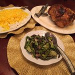 Din din @ModelLeila style. Some Persian style mixed in there. Roasted chicken, rice with saffron, and roasted veggies