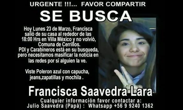 #Bienvenidos13 (@Bienvenidos13): Al despedir el #Bienvenidos13… Buscamos a Francisca Saavedra Lara. Difunde y dale RT a esta info. Nos vemos mañana. http://t.co/MvbyS3yYxZ