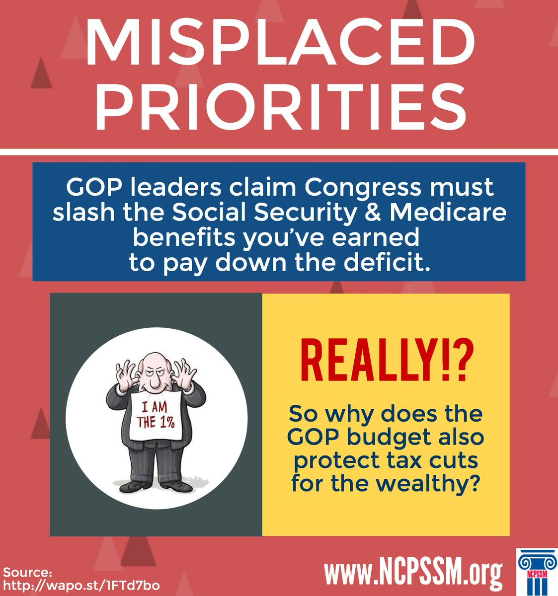 GOP leaders claim Congress must slash #SocialSecurity/#Medicare benefits you've earned to pay down deficit. Really?! http://t.co/NqBEO8c4Uc