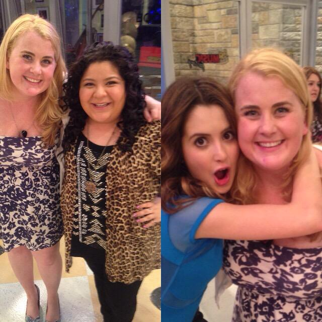 "yesterday w/ my faves @lauramarano & @Raini_Rodriguez!! thank you for making it so fun for me to do my ""job"""
