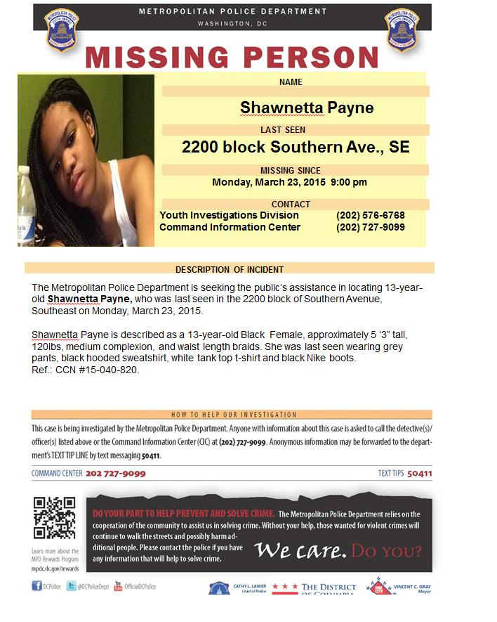 A 13-year-old D.C. girl is missing, and the D.C. police are asking for help http://t.co/4nVungyqbP http://t.co/2gPVtGbcGb
