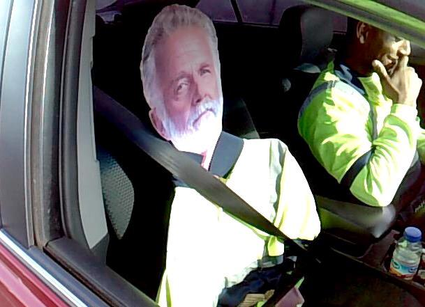I don't always violate the HOV lane law...but when I do, I get a $124 ticket!  We'll give him an A for creativity!