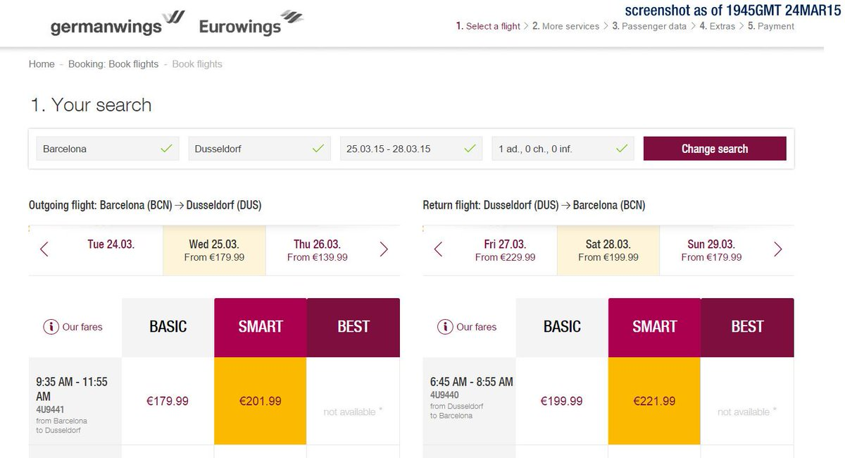 germanwings' Morning Dusseldorf - Barcelona svc from 25MAR15 to be re-numbered as 4U9440/9441, updated till 28MAR15 http://t.co/mcuuz4ofpJ