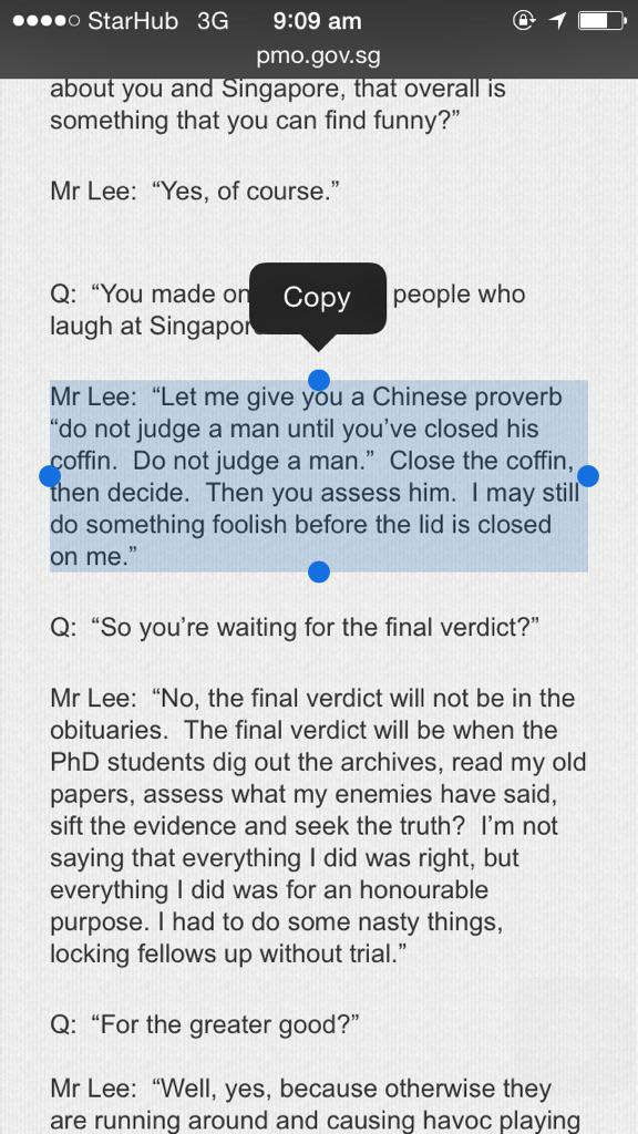 """Mr Lee:  """"Let me give you a Chinese proverb """"do not judge a man until you've closed his coffin.  Do not judge a man."""" http://t.co/rLmAf83NMi"""