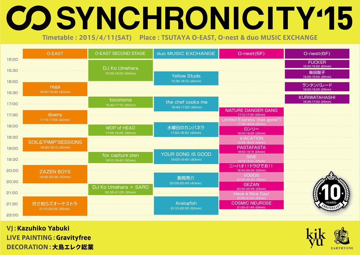 【RTお願いします!】『SYNCHRONICITY'15』タイムテーブル発表!過去最大級33組のアーティストが渋谷に集結!3会場合計6ステージが展開し10周年を大いに盛り上げます!! http://t.co/kvwLfzs99t http://t.co/kyMCVEGG9h