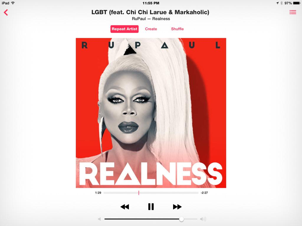 Playing @RuPaul s new album #Realness also a favorite track #LGBT Featuring @DJChiChiLaRue so cool! http://t.co/RpC7KL13dD