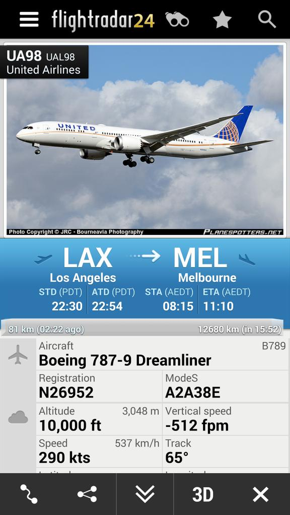 united flight ua98 from los angeles to melbourne is. Black Bedroom Furniture Sets. Home Design Ideas
