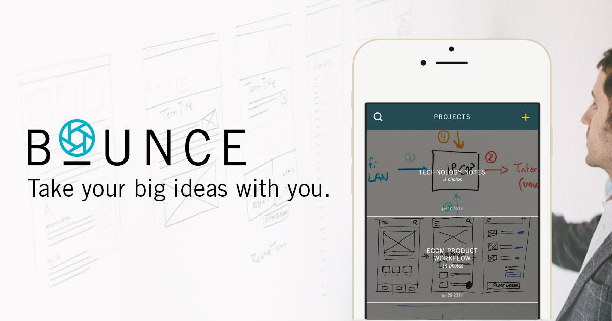 We're thrilled to announce our 1st app, Bounce! Get your ideas off the wall & into your hands: http://t.co/3PWyHQL5UO http://t.co/G3OLTHcYO1
