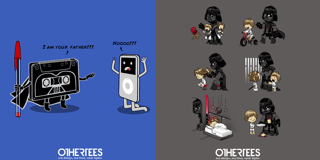#Vader as a father at http://t.co/wpAH5VNV9o! ReTweet for a chance at FREE TEE! #StarWars #lordvader http://t.co/HpKjk7HLSr