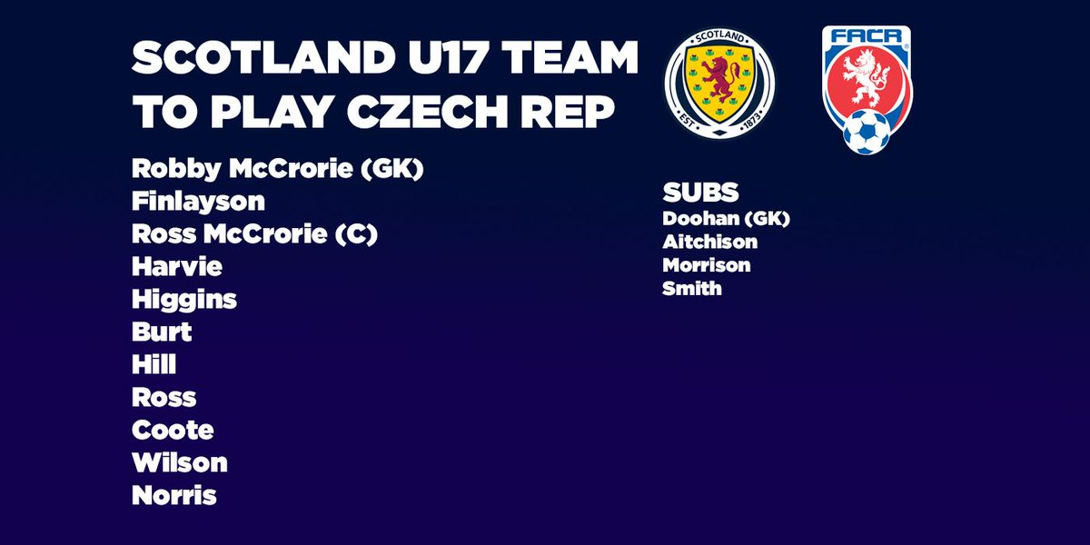 RT @ScottishFA: NEWS | Here is the Scotland U17 team to play the Czech Republic. Kick-off is at 1pm. #WeAreScotland http://t.co/EjJDH2Yomp