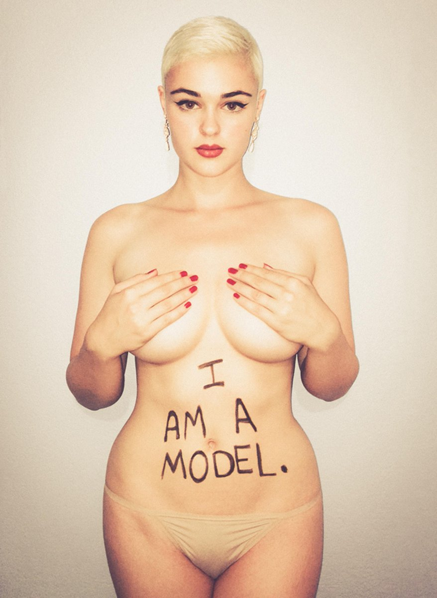 Topless plus-size model poses to promote positive body image ...