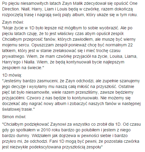 Po pięciu niesamowitych latach Zayn Malik zdecydował się opuścić One Direction http://t.co/K2fQYueivt