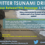 TWITTER TSUNAMI DRILL: Please RT this message to test warning communications! #cawx #TsunamiPreparednessWeek http://t.co/49aqxkEAJU