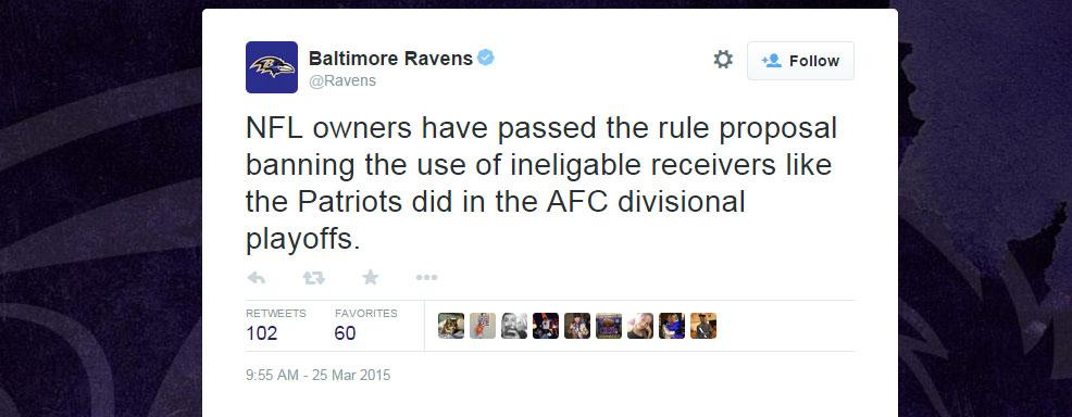 Ravens Take Shot At Patriots Via Twitter, But Misspell 'Ineligible': http://t.co/ORigs3XNuZ http://t.co/VLN9BKIhNV