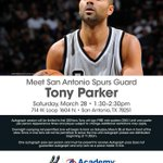 SATURDAY from 1:30-2:30 @tonyparker will be at the @Academy located  714 W Loop 1604 N.http://t.co/ChTwEMyR7Y @lauraa_hinojosa you must go!