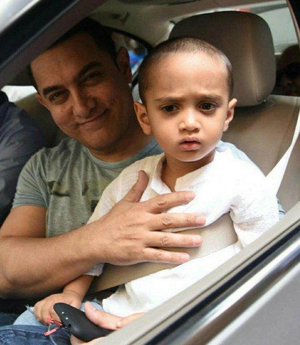 Bollywood @ 12 megapixels- with his youngest son Azad.  Happy Birthday Aamir Khan