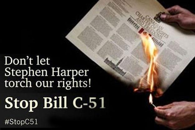 """Today: Join the #stopc51 demonstration against the feds' """"anti-terror"""" bill: http://t.co/d7OcnCuOUN  #RejectFear http://t.co/Ztq24ukA4c"""