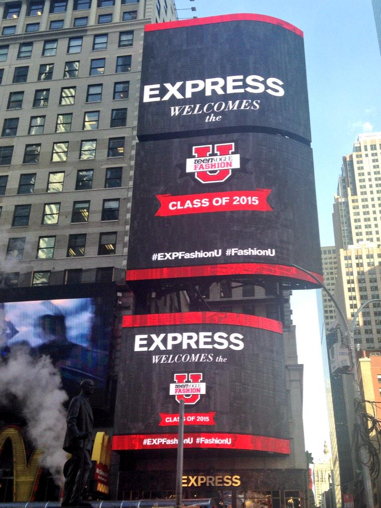 We've officially taken over Times Square! We can't wait to see you at @ExpressLife! #EXPFashionU @TeenVogue http://t.co/ciIVNedlFk