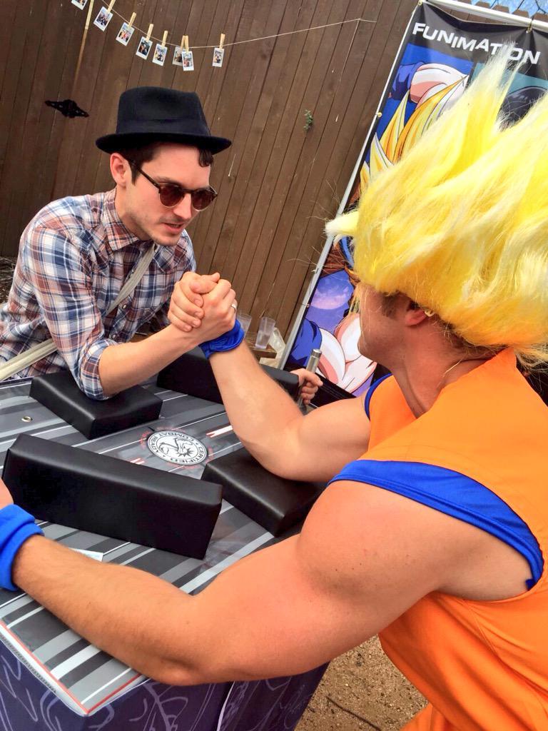 Nice try, @woodelijah, by I think Goku's got this. #SXSW #NerdistSXSW http://t.co/G70pSncNNZ
