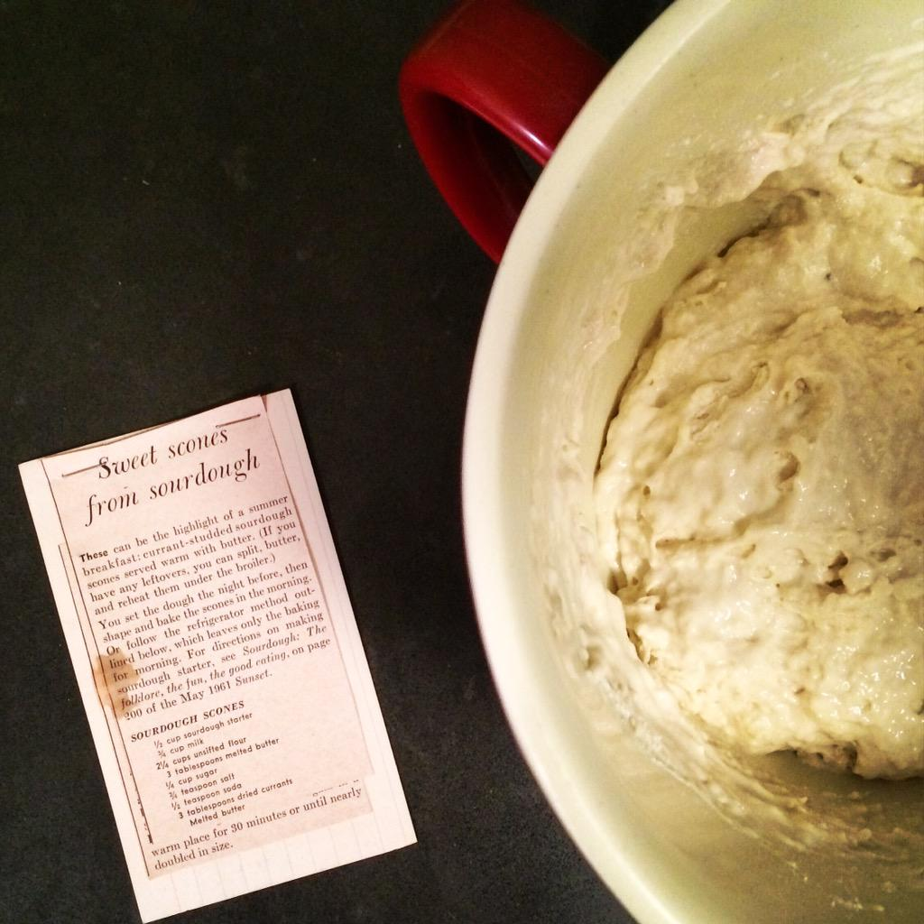 Just mixed up sponge for sourdough scones recipe from @SunsetMag clipping from 1961. Wish I had the whole magazine! http://t.co/eOvtpPHuR5