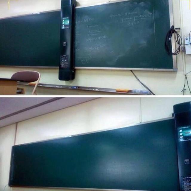 في اليابان سبورة مزودة بماسح إلكتروني يمسح ما كتب ويخزنه في نفس الوقت ليحصل الطالب على نسخ منها. http://t.co/r8pgEGaa5q