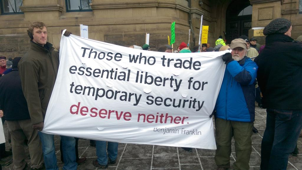 One of the banners at the Ottawa rally against #c51, the omnibus security bill. http://t.co/G9Qk2OiRxP